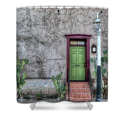 Shower Curtain featuring the photograph The Green Door by Lynn Geoffroy