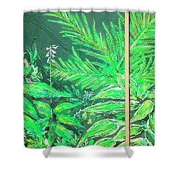 Shower Curtain featuring the painting The Green Flower Garden by Darren Cannell