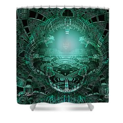 Shower Curtain featuring the digital art The Green Glow by Melissa Messick