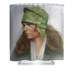 The Green Hat Shower Curtain by Janet McGrath