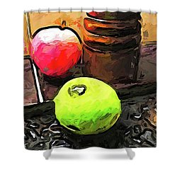 The Green Lime And The Apple With The Pepper Mill Shower Curtain