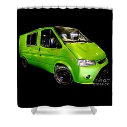 The Green Machine Shower Curtain by Vicki Spindler