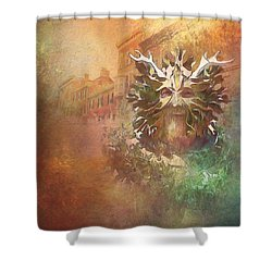 The Green Man Cometh Shower Curtain