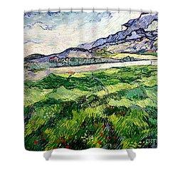 The Green Wheatfield Behind The Asylum Shower Curtain by Vincent van Gogh
