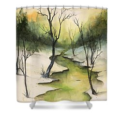 The Greenwood Shower Curtain by Terry Webb Harshman