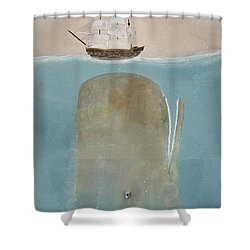 Shower Curtain featuring the painting The Grey Whale by Bri B