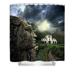 The Guardian Shower Curtain by Meirion Matthias