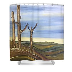 Shower Curtain featuring the painting The Guardians by Pat Purdy