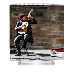 Shower Curtain featuring the painting The Guitarist by David Dehner