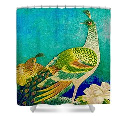 The Handsome Peacock - Kimono Series Shower Curtain
