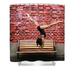 The Handstand Shower Curtain by Robert Hebert