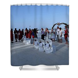 The Happy Couple - Married On The Beach Shower Curtain