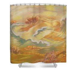 The Happy Tsunami Shower Curtain