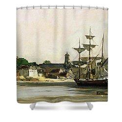 The Harbour At Honfleur Shower Curtain by Karl Pierre Daubigny