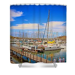 Shower Curtain featuring the photograph The Harbour by Wallaroo Images