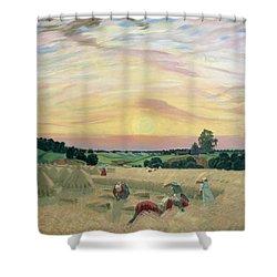 The Harvest Shower Curtain by Boris Mikhailovich Kustodiev