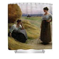 The Harvesters Shower Curtain by Henri Lerolle