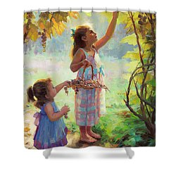 Shower Curtain featuring the painting The Harvesters by Steve Henderson