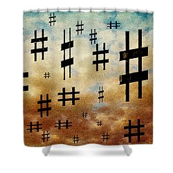 Shower Curtain featuring the digital art The Hashtag Storm by Andee Design