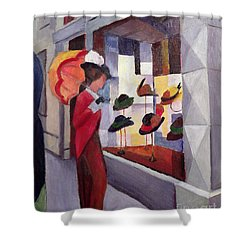 The Hat Shop Shower Curtain by August Macke