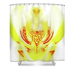Shower Curtain featuring the photograph The Heart Of An Alien-orchid by Jennie Breeze