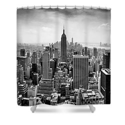 New York City Skyline Bw Shower Curtain by Az Jackson