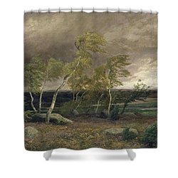 The Heath In A Storm Shower Curtain by Valentin Ruths