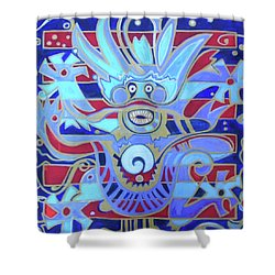 Shower Curtain featuring the painting The Heavenly Dragon Of Creativity by Denise Weaver Ross