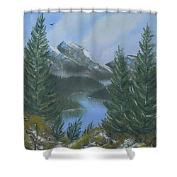 Shower Curtain featuring the painting The High Country by Jimmie Bartlett