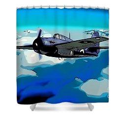 The High Flight Of A Grumman F4f Wildcat Shower Curtain by Wernher Krutein