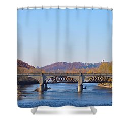 The Hill To Hill Bridge - Bethlehem Pa Shower Curtain by Bill Cannon