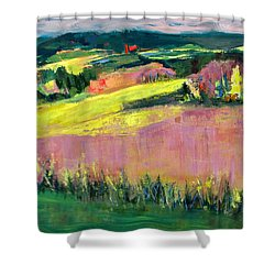 Shower Curtain featuring the painting The Hills Are Alive by Betty Pieper