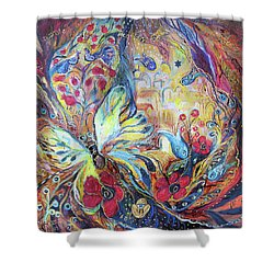 The Hills Of Safed Shower Curtain by Elena Kotliarker