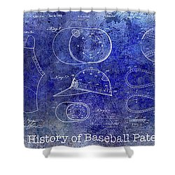 The History Of Baseball Patents Blue Shower Curtain
