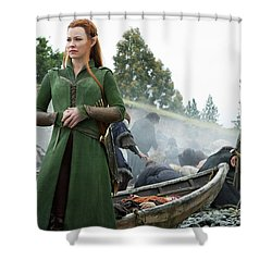 The Hobbit The Battle Of The Five Armies Evangeline Lilly Orlando Bloom Shower Curtain