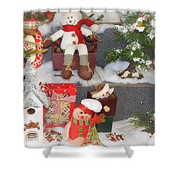 The Holiday Snowman Party Shower Curtain