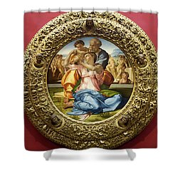 The Holy Family - Doni Tondo - Michelangelo - Round Canvas Version Shower Curtain