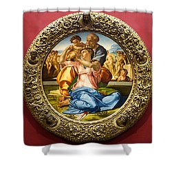 The Holy Family - Doni Tondo - Michelangelo Shower Curtain