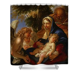 Shower Curtain featuring the painting The Holy Family With Angels by Seastiano Ricci