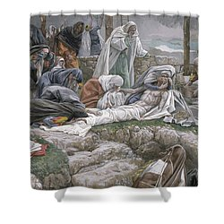 The Holy Virgin Receives The Body Of Jesus Shower Curtain by Tissot