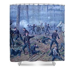 Shower Curtain featuring the painting The Hornets' Nest by Thomas Corwin Lindsay