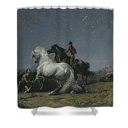 The Horse Thieves Shower Curtain by Ferdinand Victor Eugene Delacroix