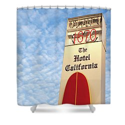 Shower Curtain featuring the photograph The Hotel California by Art Block Collections
