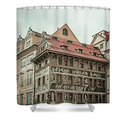 Shower Curtain featuring the photograph The House At The Minute With Graffiti At Old Town Square  by Jenny Rainbow