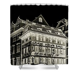 Shower Curtain featuring the photograph The House At The Minute With Graffiti. Black by Jenny Rainbow