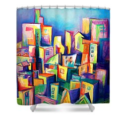 Shower Curtain featuring the painting The Houses by Kim Gauge