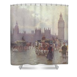 The Houses Of Parliament From Westminster Bridge Shower Curtain by Alberto Pisa