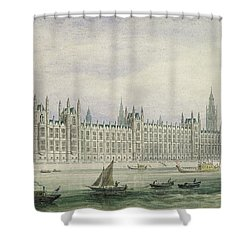 The Houses Of Parliament Shower Curtain by Thomas Hosmer Shepherd