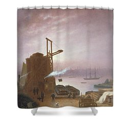 The Hudson River From Hoboken Shower Curtain by Robert Walter Weir
