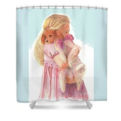 Shower Curtain featuring the painting The Hug by Nancy Lee Moran